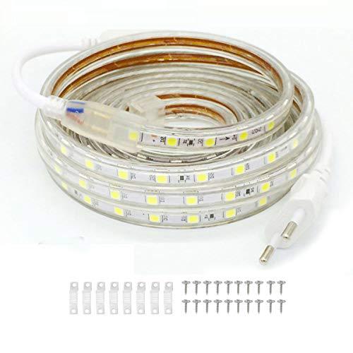 VAWAR 4m tira de LED - blanco frío, 5050 SMD 60 Leds/m, luz de fondo brillante, 220V 230V Strip, IP65 impermeable para el hogar, cocina, dormitorio, Navidad
