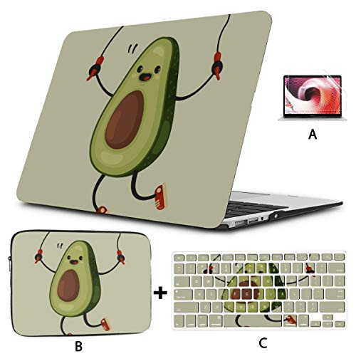 Macbook Pro Covers Cute Avocado Cartoon Vegetable Laptop Case 13 Inch Hard Shell Mac Air 11'/13' Pro 13'/15'/16' With Notebook Sleeve Bag For Macbook 2008-2020 Version