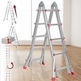 Escalera multiusos plegable de aluminio de 4 peldaños (4 x 5 peldaños) de 150 kg