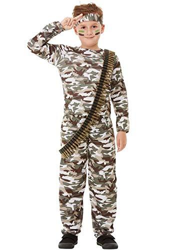 Funidelia | Disfraz Militar para nio y nia Talla 5-6 aos Militar, Soldado, Profesiones, Camuflaje - Verde