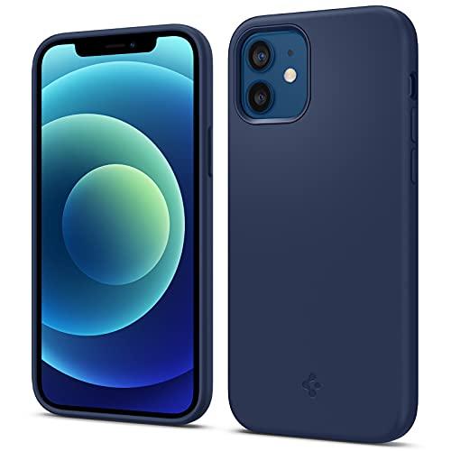 Spigen Silicone Fit Hülle Kompatibel mit iPhone 12 & Kompatibel mit iPhone 12 Pro -Navy Blue