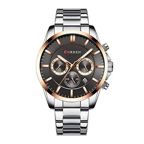 Curren Reloj de pulsera de cuarzo para hombre, reloj de negocios, resistente al agua, calendario, caja de aleación de acero inoxidable