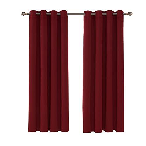 UMI. Essentials 2 Schals Superweiche wärmeisolierende Verdunkelungsvorhang Ringaufhängung Blickdicht Gardinen 140x175 cm Rot