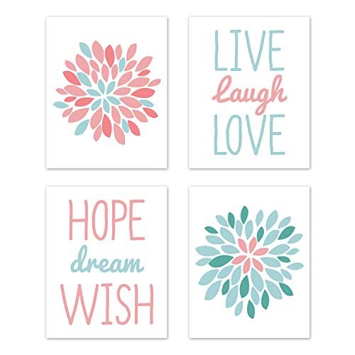 Sweet Jojo Designs Turquoise and Coral Floral Wall Art Prints Room Decor for Baby, Nursery, and Kids for Emma Collection - Set of 4 - Live Laugh Love