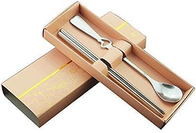 SODIAL(R) Fine Stainless Steel Cutlery Sets(Cartridge heart shape)