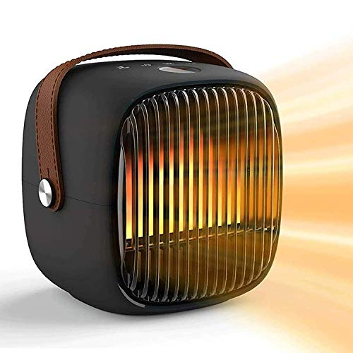 LIfav Desktop-Retro-Heizung, Simulierte Feuer White Noise Design-Haushalt Heizung Bluetooth Lautsprecher Heizung, Für Home Office-Schlaf, EU/UK/US,Schwarz,EU