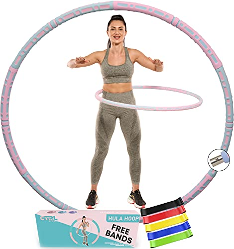 CTRL Sports Hula Hoops for Adults Weight Loss - Weighted Hula Hoop 2-5lb for Women - Soft Foam Padding for Comfort - Fitness Smart Exercise Hoola Hoops for Adults