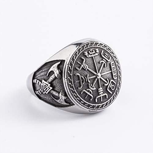 CRYPIN Ring der nordischen Mythologie, König der Götter ineinandergreifendes Dreieck Wikinger-Krieger Vegvisir-Ring, Runaven-Totemring , Größe 7-15#