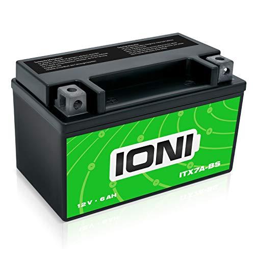 IONI ITX7A-BS 12V 6Ah AGM Batterie kompatibel mit MG7A-BS-C / YTX7A-BS Motorradbatterie