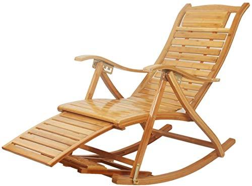 Sillón Silla de bambú de balancín Sillas de cubierta de bambú Silla reclinable ajustable para jardín Patio de uso del césped, sillón de salón de gravedad cero plegable con almohada y reposapiés de mas