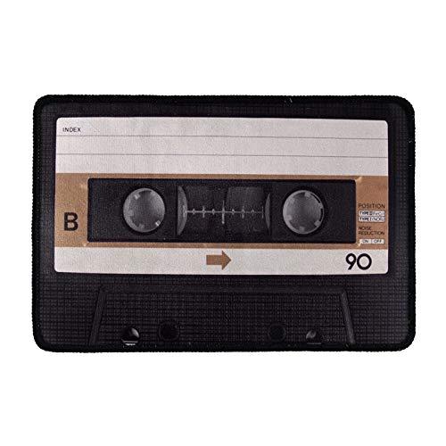 HUGS IDEA Novedad Divertida Cinta de Cassette Diseño Lindo Antideslizante Foor Felpudo Camino Alfombra Interior Exterior Decorativa