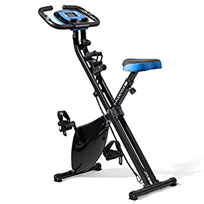 LifePro Folding Upright Exercise Bike, Pulse Sensors, Adjustable Resistance - Slim Portable Bike Exercise Machine for Indoor Cycling, Home Gym, Workout - Fitness Equipment for Men, Women, Seniors