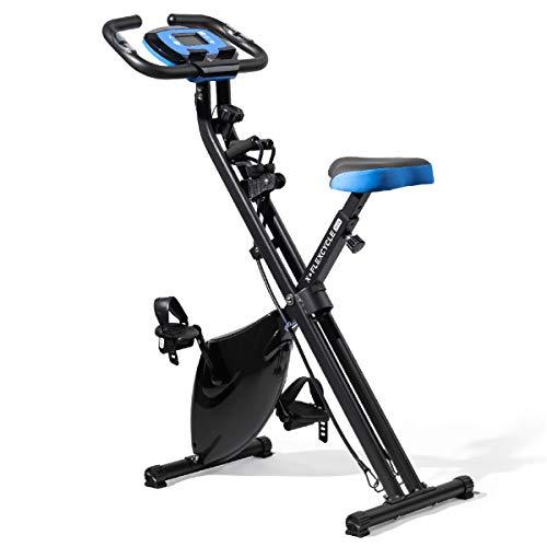 Lifepro Foldable stationary bike, Pulse Sensors, Adjustable Resistance - Slim Portable Bike Exercise Machine for Indoor Cycling, Home Gym, Workout - Fitness Equipment for Men, Women, Seniors