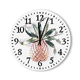 DKISEE - Orologio da parete rotondo in legno, stile Marcel-Boucher-Smalto-Strass-ananas, colore: Ananas