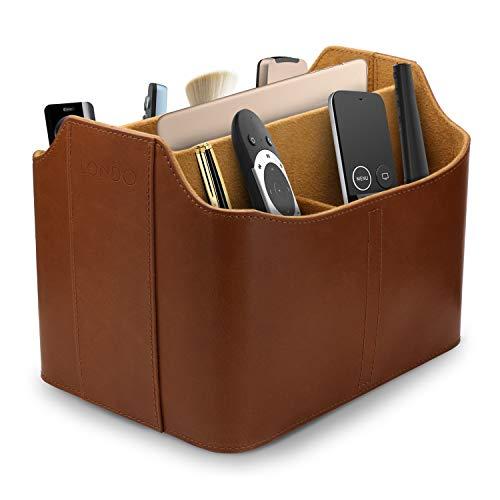 Londo - Organizador de Cuero con Mando a Distancia y Bandeja para Tableta, Color marrón Claro (OTTO172)