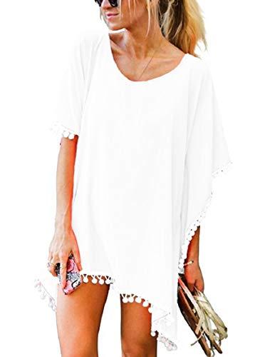Voqeen Mujer Bikini Cover Up Verano Borla Camisolas Gasa Pom Pom Kaftan Playa de Traje de Baño de Vestido de Playa Vestidos de Mujer (Blanco)