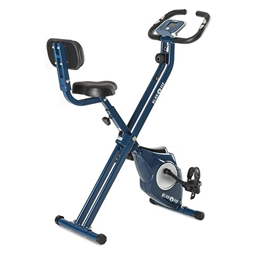 Klarfit Azura CF X-Bike Cyclette Bici da Camera Cardio Bike Richiudibile Salva Spazio con Schienale (Resistenza Regolabile, 100 kg Max, Computer Allenamento, Misura Polsazioni) Blu