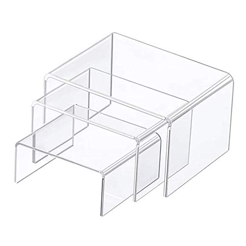 3 Pieces Clear U-Shaped Acrylic Risers Display Stands Shelves, Transparent Neat and Tidy, Durable and Stable to Hold The Exhibition