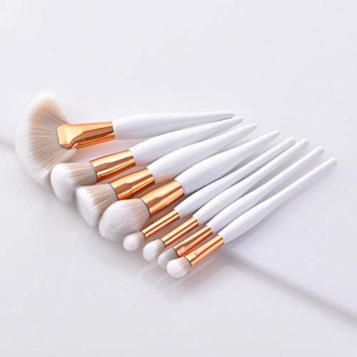 Pinceaux de maquillage 4pcs ou 9 Pcs Beauty Tools Sets Brush/Flame/Flat Head/Micro Brush 2 Colors Blusher Foundation Concealer Brush-01. 8pcs blanc