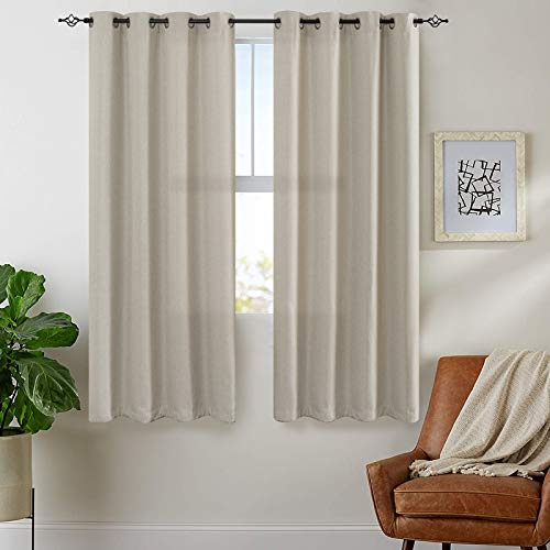 jinchan Thermal Insulated Faux Linen Room Darkening Curtains for Bedroom 63 inch Long Living Room Linen Textured Curtain (Greyish Beige, One Panel)