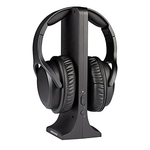 MEDION E62003 Funkkopfhörer (drahtlose Over Ear Kopfhörer kabellos, Reichweite ca. 15 m, bis zu 10 Std Akku Laufzeit, digitaler Sound, hoher, Ladestation)