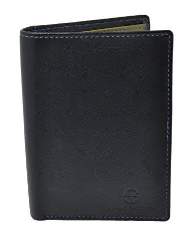 Sergio Tacchini, cartera de cuero genuino para hombres, resistente, con monedero con clip, delgado, tarjetero, interior multicolor Negro vertical vertical