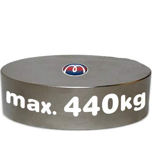 Imán redondo Disco Magnético Neodimio - Ø 100 x 20 mm - Neodimio N45 (NdFeB) Níquel – Fuerza 440kg - Imanes permanentes redondos circulares extra potentes de Tierras Raras para la industria y el hogar
