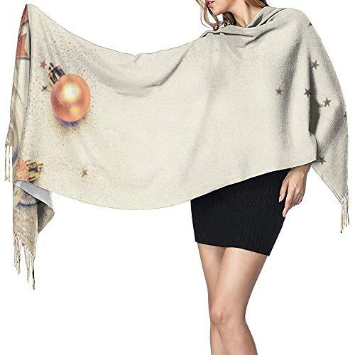 Elaine-Shop Gold Weihnachtsschmuck Damen Herbst Winter Schal Klassische Quaste Schal Warme Weiche Große Decke Wickelschal Schals
