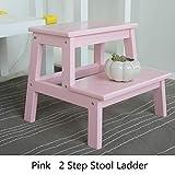 Yyqttz Tragbarer Tritthocker, Holzleiter Kinderbett Treppe Erwachsene Haustiere Leiter rutschfeste Fußstütze Treppe für Home Office Küche (Color : Pink)