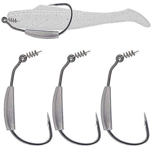 Weighted Swimbait Hooks- -Jig-Heads-with- Twistlock- Soft Plastic Worm Fishing Hooks 3/0 4/0 5/0 6 Pack (Size 4/0,3/16oz 5.4g, 6-Pack)