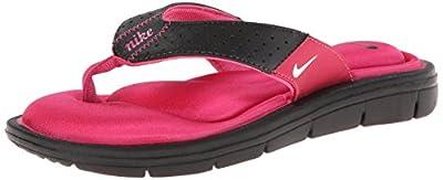 Nike Women's Comfort Thong Black/Vivid Pink/White Sandal 5 B - Medium