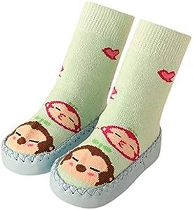 MAYOGO Calcetines altos bebe Niño Bebé Niño Niña Mocasines de dibujos animados Antideslizantes Zapatillas de interior Calcetines Antideslizantes