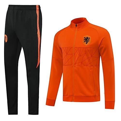 LZMX Football Club Offizielle Fußballgeschenk Holländische Herren Langarm-Reißverschluss-Jacke + Hosen Sportswear Anzug Track und Feldjacke-Trainingsanzug (Color : A, Size : L)