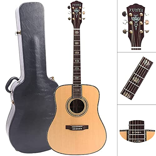 ZUWEI 41in Handmade Electric Acoustic Guitar Solid Spruce Top Rosewood Back&side Abalone Inlay, Grover Tuner 20F Roseweood Fingerboard Lower Action Bone Nut& Saddle Free Hardcase Gloss Finish