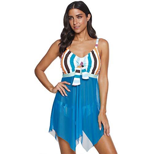 KaloryWee 2020 Neu Damen Plus Size Tankini Swimjupmsuit Bademode Vintage Print Gestreiften Mesh Patchwork Gepolstert Baden Badeanzug Beachwear