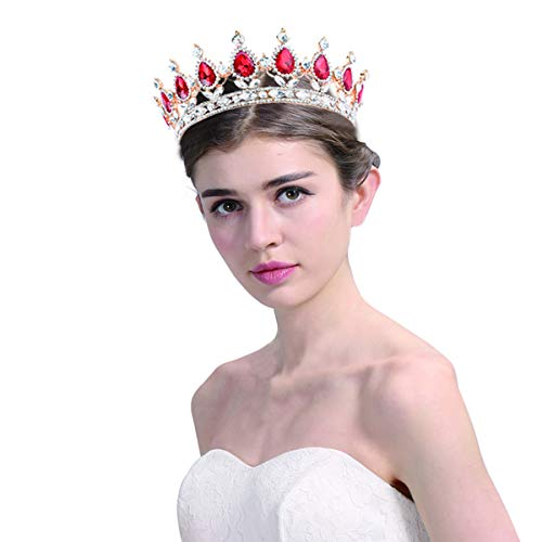 Santfe 2' Height Silver and Gold Plated Crystal Rhinestone Ruby Full Circle Tiara Crown Bridal Wedding Jewelry Hair Accessories (41-Gold-red)