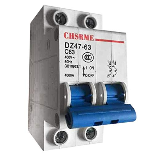 NO LOGO QXP-Adapter 2P 63A DC250V MCB Solar Energy Photovoltaik (PV) Solar DC Circuit Breaker (Farbe : Blue White, Größe : 63A)