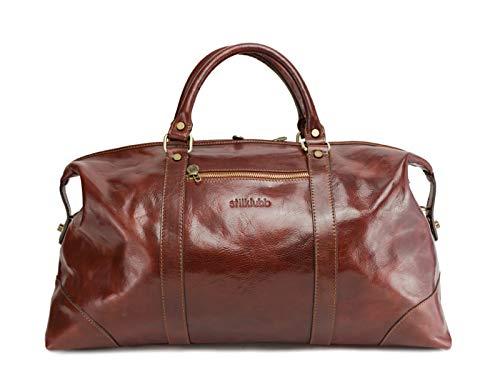 stilklubb - Borsa da viaggio McDormand in pelle con personalizzazione marrone, grande bagaglio a mano, borsa sportiva, vintage, vintage, Weekender con chiusura lampo (55 x 28 x 22)