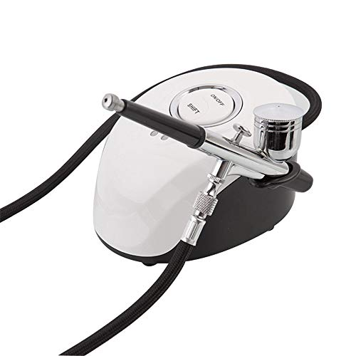 DIYARTS 7cc Cup Dual Action Switch Airbrush Kit Tattoo Nail Art Air Compressor Airbrush Precision Trigger Spray Gun Pen (Blanc)