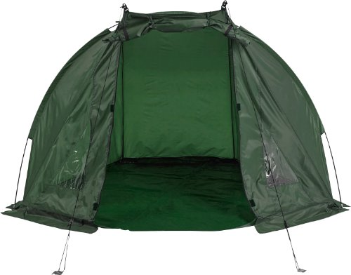 FLADEN Fishing - DAY SHELTER Bivvy Waterproof Dark Green Fishing with PVC Viewing Panels, Detachable Groundsheet, Poles Pegs and Carry Bag [25-125]