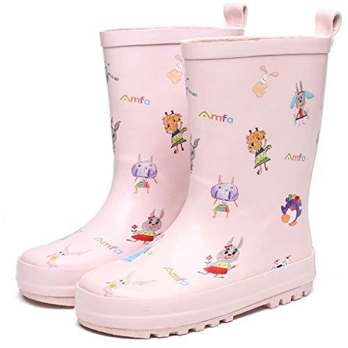 Unbekannt FRF Regenstiefel- wasserdichte rutschfeste Gummischlauch-Regenstiefel der Mädchen im Freien, Studentenmode-Graffitiregenstiefel-Wasserschuhe (Farbe : Rosa, größe : 30 Yards)