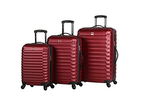 Lucas Luggage ABS Hard Case 3 Piece Rolling Suitcase Set With Spinner Wheels (One Size, Burgundy)