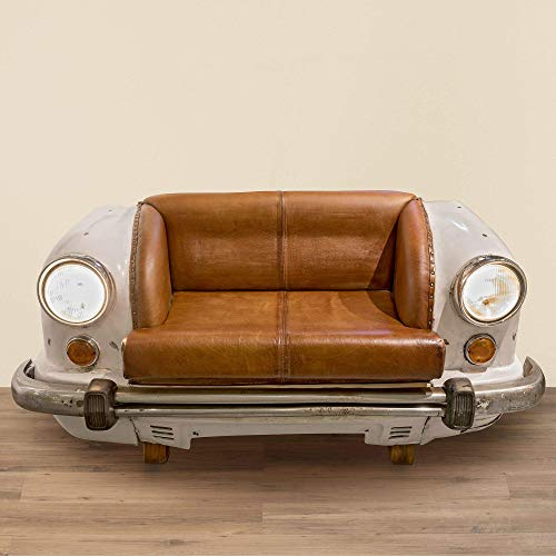 Immo Edles Sofa Zweisitzer Sitzbank Ambassador Auto Bank Leder Sessel Metall B 158cm