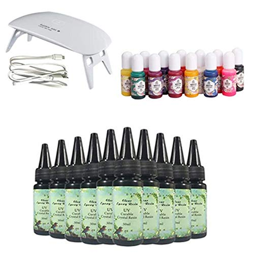 10 piezas 30 ml de resina UV de cristal + lámpara UV + 15 pigmento para bricolaje hogar artesanía profesional joyería pendientes collar pulsera accesorios de arte de uñas
