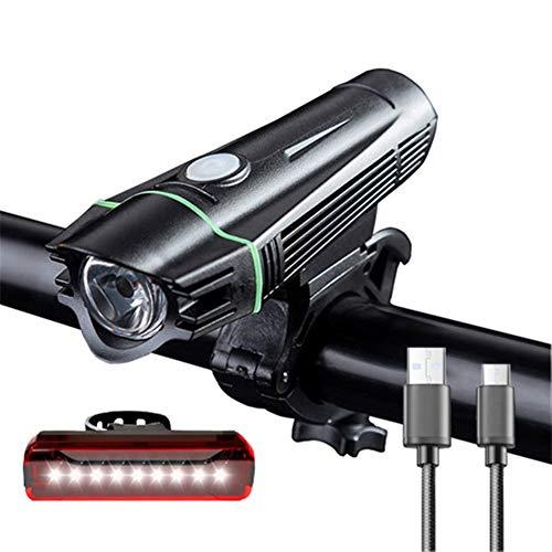 Recargable de bicicletas Juego de luces brillantes USB Potente frente de la bicicleta del faro y luz trasera 4 Volver modo de luz de la linterna de la bici BaoDingRenSheng ( Color : Green , Size : 3 )