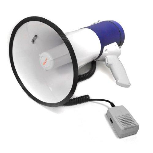 auna MEG1-HY - Megafon, Megaphone, Stimmenverstärker, 80 Watt max, 1000m Reichweite, Sirene, Handmikrofon mit Spiralkabel, Tragegurt, Robustes Gehäuse, wetterfeste Bauweise, weiß-blau