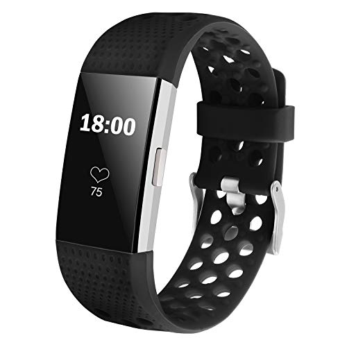 iGK Silicone Replacement Bands Compatible for Fitbit Charge 2, Adjustable Breathable Sport Strap Smartwatch Fitness Wristband with Air Holes All Black Large