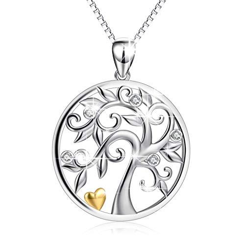 Luzhimx - Collar con colgante del árbol de la vida, para mujer, de plata 925