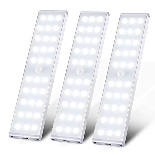 モーションセンサークローゼットライト、KSQ 30 LED超高輝度人感センサー ライト、フルスクリーンイルミネーションと充電式キャビネットLEDライト、キッチンワードローブ用のアンダーキャビネットライト寝室の階段廊下-3パックLEDバーライト