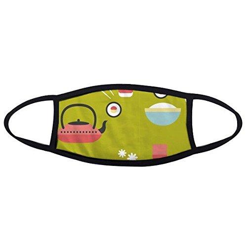 Japan Cultuur Japanse Stijl Leuke Groen Blauw Rood Wit Rijst Theepot Cup Sushi eetstokjes Sakura Illustratie Patroon Gezicht Anti-stof Masker Anti Koud Maske